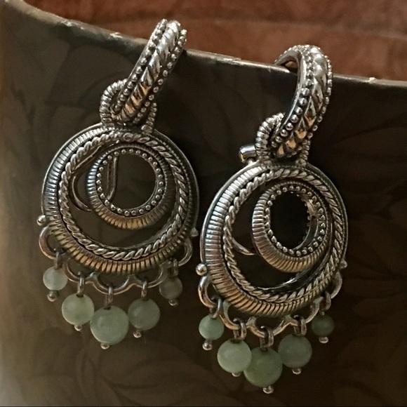 ea097a05be588 Judith Ripka Sterling Hoop Jade Bead Drop Earrings